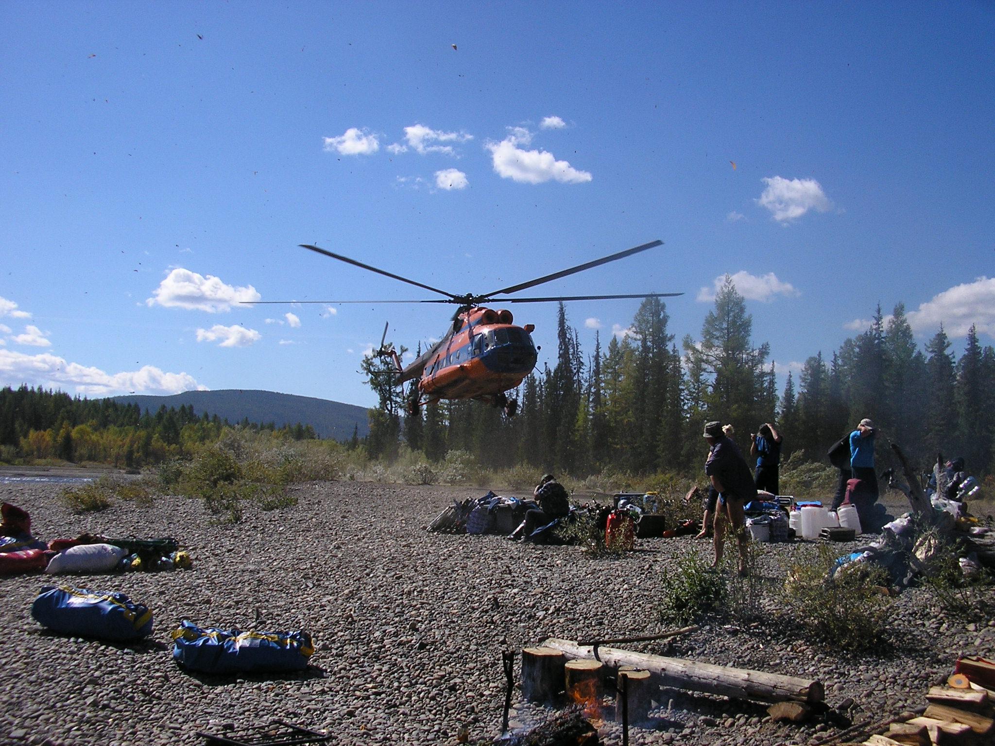 заброска на вертолете на рыбалку